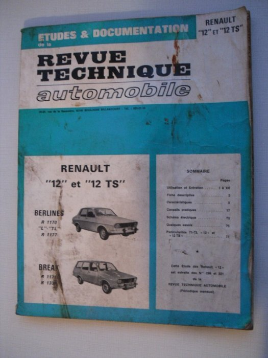revue technique automobile pour renault 12 et 12ts. Black Bedroom Furniture Sets. Home Design Ideas